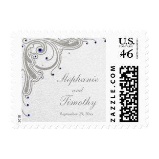 Silver glitter swirls + blue jewels wedding stamps stamp