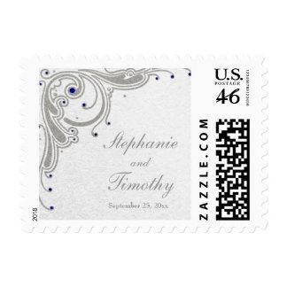 Silver glitter swirls + blue jewels wedding stamps
