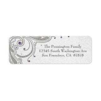 Silver glitter swirls + purple jewel address label