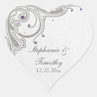 Silver glitter swirls purple jewel wedding sticker