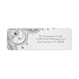 Silver glitter swirls + red jewels address label