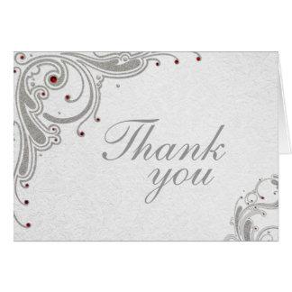 Silver glitter swirls + red jewels thank you card