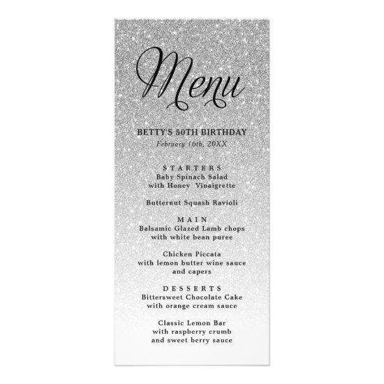 Silver Glitter Tall Menu Card