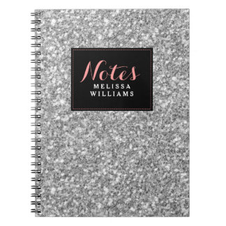 Silver Glitter Texture Black Accents Notebook