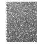 Silver Glitter Texture Print Spiral Notebooks
