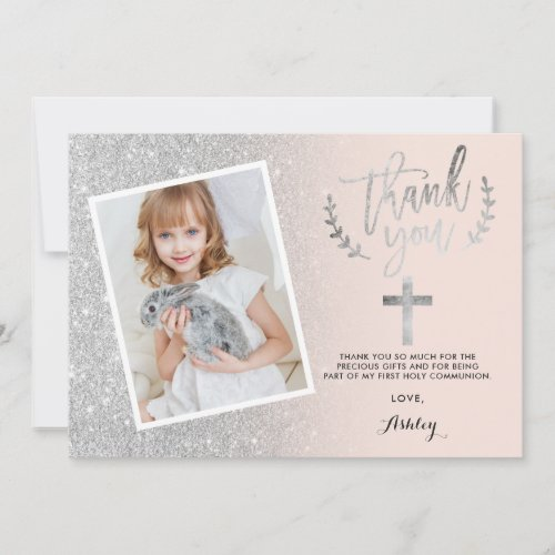Silver glitter thank you first communion photo
