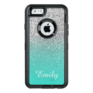 Silver Glitter Turquoise Ombre Personalized OtterBox Defender iPhone Case