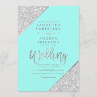 Silver glitter typography aqua blue wedding invitation