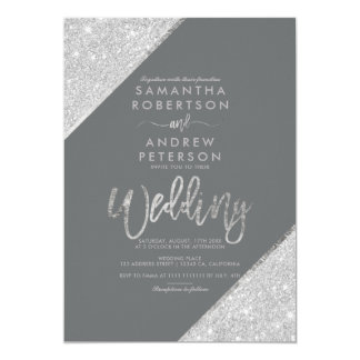 Silver glitter typography grey chic wedding invitation