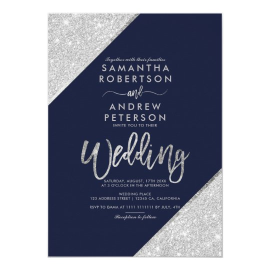 Silver Glitter Typography Navy Blue Wedding Invitation Zazzle Com