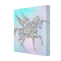 Silver Glitter Unicorn on Pastel Canvas Print