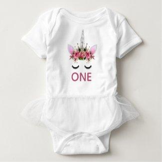 Silver Glitter Unicorn Princess Baby Bodysuit