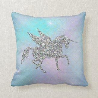 Silver Glitter Unicorn Throw Pillow
