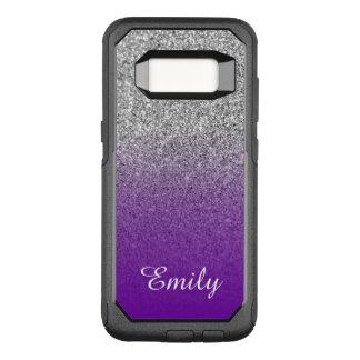 Silver Glitter Violet Purple Ombre Personalized OtterBox Commuter Samsung Galaxy S8 Case
