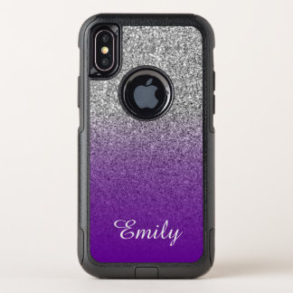 Silver Glitter Violet Purple Ombre Personalized OtterBox iPhone XS Case