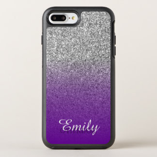 Silver Glitter Violet Purple Ombre Personalized OtterBox Symmetry iPhone 8 Plus/7 Plus Case