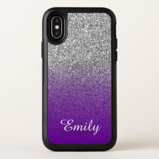 Silver Glitter Violet Purple Ombre Personalized OtterBox Symmetry iPhone X Case
