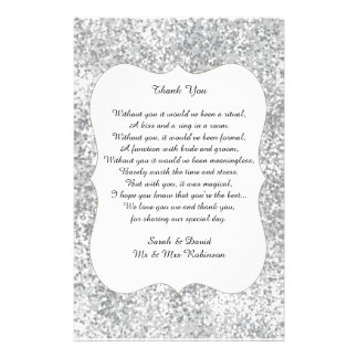 Silver Glitter Wedding Poem Thank You Favor Scroll Flyer