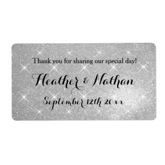 Silver glitter wedding wine or water bottle labels