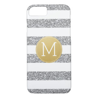 Silver Glitter White Striped Pattern Gold Monogram iPhone 8/7 Case