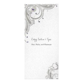 Silver glitter with purple jewels design spa salon rack card