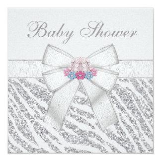 Silver Glitter Zebra Print & Bonnet Baby Shower Custom Invitations