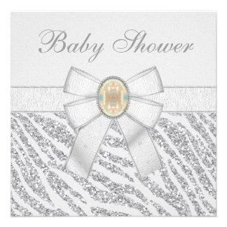 Silver Glitter Zebra Print Opal Baby Shower Personalized Invites