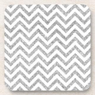 Silver Glitter Zigzag Stripes Chevron Pattern Beverage Coaster