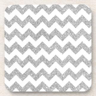 Silver Glitter Zigzag Stripes Chevron Pattern Coaster