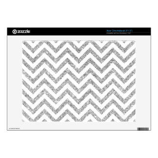 Silver Glitter Zigzag Stripes Chevron Pattern Decal For Acer Chromebook