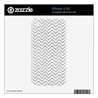 Silver Glitter Zigzag Stripes Chevron Pattern Decals For iPhone 4S