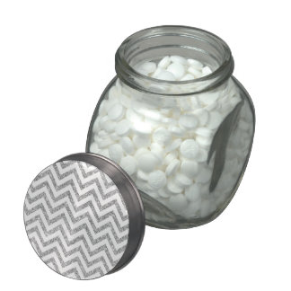 Silver Glitter Zigzag Stripes Chevron Pattern Glass Candy Jars