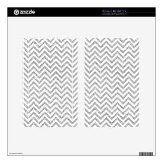 Silver Glitter Zigzag Stripes Chevron Pattern Kindle Fire Decals