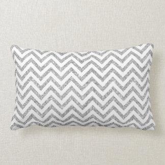 Silver Glitter Zigzag Stripes Chevron Pattern Lumbar Pillow