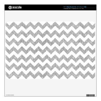Silver Glitter Zigzag Stripes Chevron Pattern MacBook Air Decal
