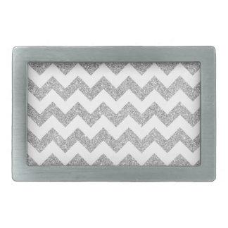 Silver Glitter Zigzag Stripes Chevron Pattern Rectangular Belt Buckle