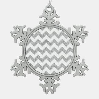Silver Glitter Zigzag Stripes Chevron Pattern Snowflake Pewter Christmas Ornament