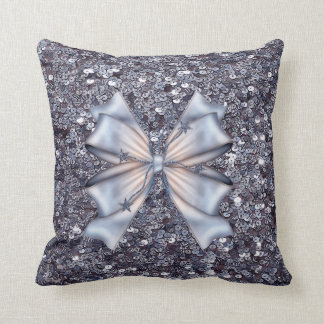 Silver Glitters and Bow Pillow