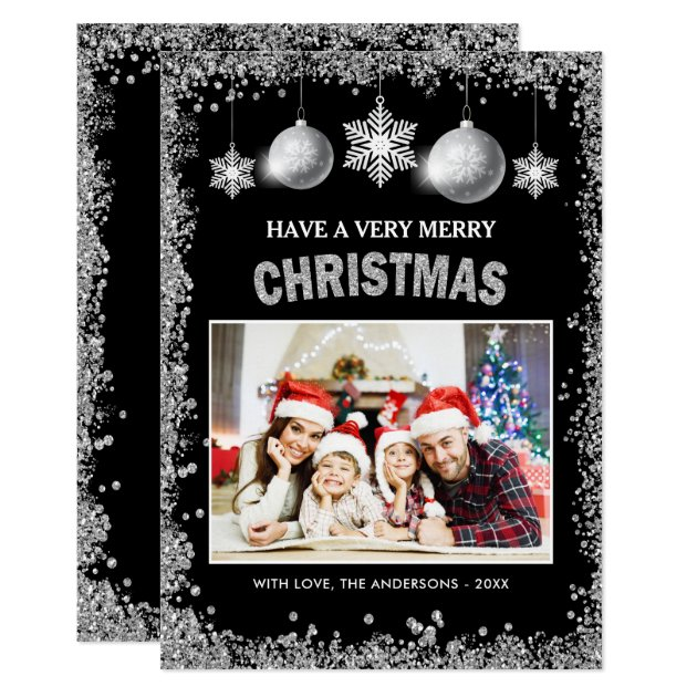 Silver Glitters Snowflakes Merry Christmas Photo Card