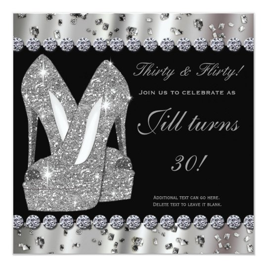 Silver glittery high heels shoes party invitation Zazzlecom