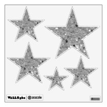 Silver Glittery Look Stars: Wall Decals