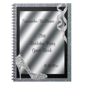 Silver Glittery Stiletto & Streamers 21st Birthday Notebook