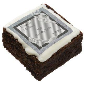 Silver Glittery Stiletto & Streamers 25th Birthday Chocolate Brownie