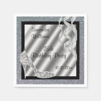 Silver Glittery Stiletto & Streamers 25th Birthday Napkin