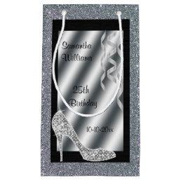 Silver Glittery Stiletto & Streamers 25th Birthday Small Gift Bag