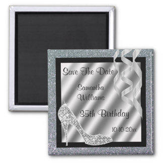 Silver Glittery Stiletto & Streamers 35th Birthday Magnet