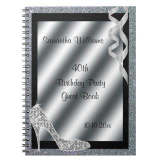 Silver Glittery Stiletto & Streamers 40th Birthday Spiral Notebook