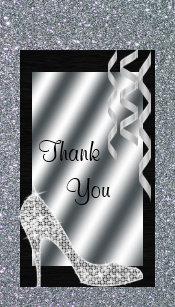 Silver Glittery Stiletto Streamers 50th Birthday Gift Tags