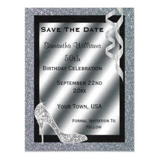 Silver Glittery Stiletto & Streamers 50th Birthday Magnetic Card