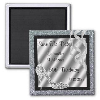 Silver Glittery Stiletto & Streamers 60th Birthday 2 Inch Square Magnet